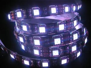 RGB Flexible LED Strip, 60 pcs 5050 LEDs/m, Black PCB, IP65